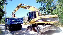 Una excavadora giratoria neumática